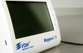 VDW Raypex 5 - Apex locator - a device that works on the basis of multifrequency technology, and thus helps us to determine the exact length of the root canal and also it shows the position of instruments in a canal. This device makes endodontic treatment quicker and it enhances its quality. It also reduces the number of xrays that need to be taken during root canal treatment.